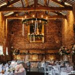 Summer wedding reception in the Tithe Barn, Meols Hall, Southport